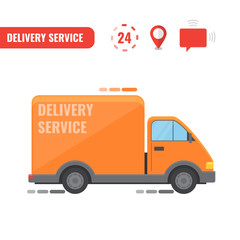 Delivery truck. Concept of the delivery service.