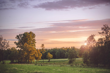 Sunset in a countryside landscape