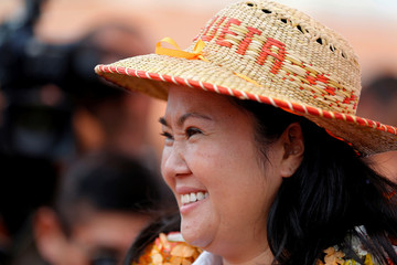 Peruvian presidential candidate Keiko Fujimori of the Fuerza Popular (Popular Force) party attends an election rally in Huacho