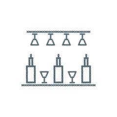 Cute vector illustration cross embroidery of bar. Bottles and glasses.