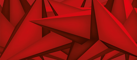 Volume geometric shape, 3d crystal red background, abstraction low polygons wallpaper, vector design form
