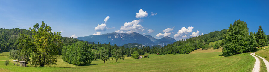 Idyllische Landschaft in Slowenien mit Blick auf Gebirge