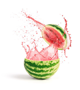 watermelon with slice and splash of juice isolated on white background