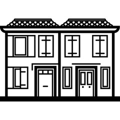 Vector Icon of two italian townhouses near water in line art style. Pixel perfect. Travel and tourism, visit Italy