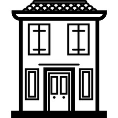 Vector Icon of a modern italian house near water in line art style. Pixel perfect. Travel and tourism, visit Italy