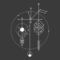 Sacred geometry, vector graphic design elements.