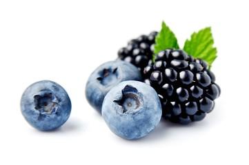 Ripe blackberries and blueberries.