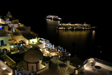 Cruise Ships in the Bay of Santornini, Greece City Skyline at Night