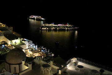 Cruise Ships and the Nightlife in Santorini, Greece