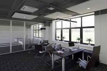 Office interior in loft style. 3d illustrations