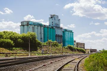 Large industrial elevator, railway