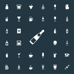 Vector Illustration Set Of Simple Drinks Icons. Elements Beer, Fizzy, Cappuchino And Other Synonyms Baby, Water And Drink.