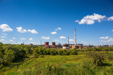 Plant for the production of synthetic rubber, the plant on nature background landscape