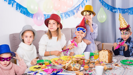 friendly kids having a good time at a birthday party