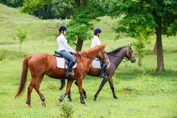 Photo sur cadre textile Equitation Two young women riding horse in park. Horse walk in summer
