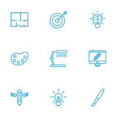 Set Of 9 Creative Outline Icons Set.Collection Of Paintbrush, Brain, Target And Other Elements.