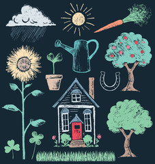 House and Garden Elements Chalk Drawing Vector Set