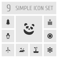 Set Of 9 Ecology Icons Set.Collection Of Solar Panel, Wind Energy, Flowerpot And Other Elements.