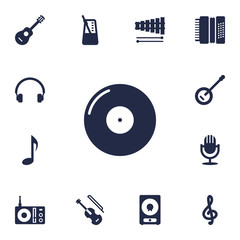 Set Of 13 Melody Icons Set.Collection Of Harmonica, Karaoke, Retro Disc And Other Elements.