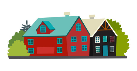 Icelandic houses icon. Nordic cartoon red and black capital. Reykjavik abstract street. Vector illustration, isolated on white background