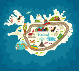 Iceland abstract map, handdrawn vector illustration. Travel illustration of Iceland with landmarks icons, nature, people and animals