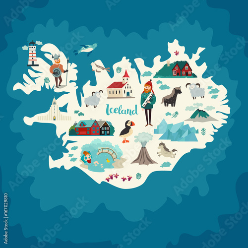 Iceland abstract map handdrawn vector illustration travel iceland abstract map handdrawn vector illustration travel illustration of iceland with landmarks icons nature people and animals stock image and sciox Gallery