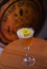 "General view of ""Smoking Chamomile"", a Hong Kong inspired cocktail."