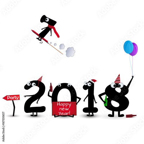 Happy New Year Card 2018 mit cool Numbers\