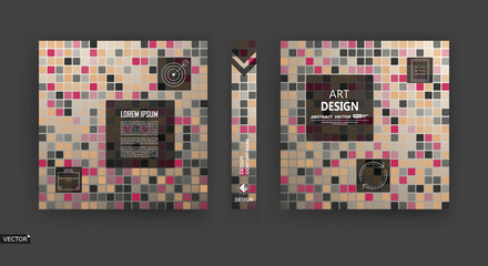 Abstract a4 brochure cover design. Info banner frame. Broun, beige title sheet model set. Modern vector front page art. Elegant box blocks texture. Colored figure icon. Ad flyer text font. Fancy fiber