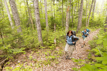 A Young Couple Hiking On The Appalachian Trail