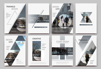 Obraz A4 brochure cover design. Templates for flyer, ad text font, info banner frame or title sheet model set. Modern vector front page art with urban city street texture. Patch triangle, round figure icon - fototapety do salonu