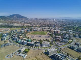 Toma Aerea ciudad empresarial, Santiago, Chile