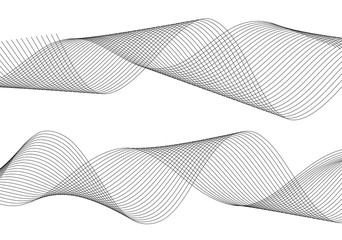 Design element wavy ribbon from many parallel lines45