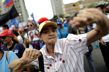 Pro-government supporters march in Caracas