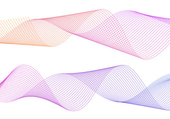 Design element wavy ribbon from many parallel lines46