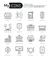 Modern thin line icons set of city elements