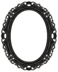 Black baroque oval frame