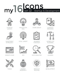 Modern thin line icons set of startup business and launch new product on market