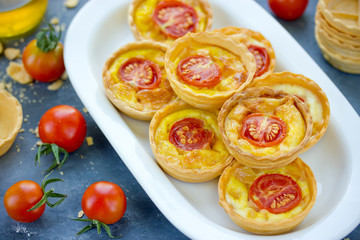 Yorkshire pudding with cherry tomatoes