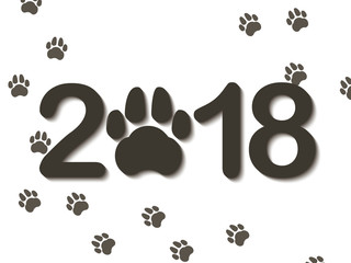 Inscription 2018 with a dogs paw as a symbol of the coming new year. Congratulations on the new year on a white background. Vector illustration.