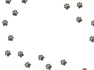 White  pattern with animal footprints. Dog tracks on a white background. Vector illustration.