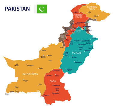 Pakistan - map and flag – illustration