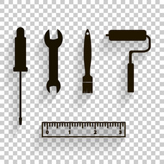 Vector icon image of a set for repair, for work. Brush, ruler, screwdriver, spanner, molar roller,Paint roller