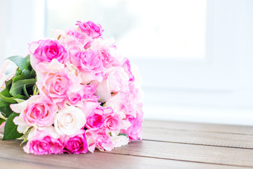 Bouquet of pink roses. Place for the inscription. Concept Happy Birthday, March 8, Mother's Day.