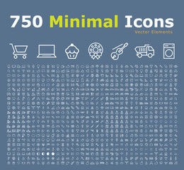 Set of 750 Minimal Universal Isolated Modern Elegant Thin Line Icons on Color Background