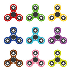 Set colored spinners with three element – stock vector