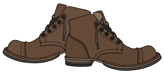 Old brown leather lacing boots