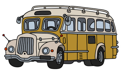 Old yellow and cream bus