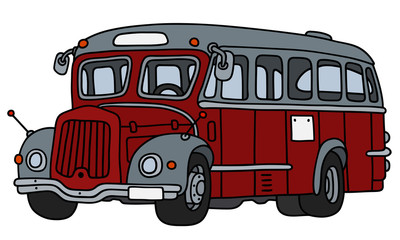 Vintage red and gray bus