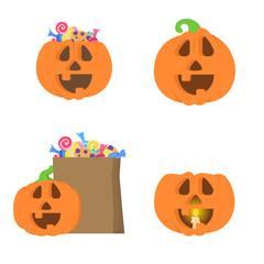 Set with different halloween pumpkins